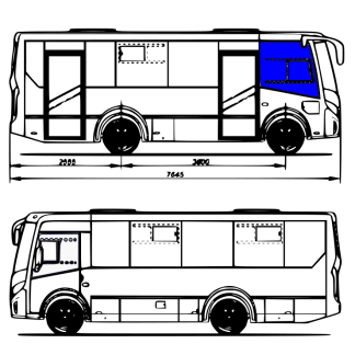 Стекло переднее боковое правое 1370х1400 на Вектор NEXT белое